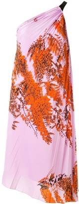 Christian Dior Pre-Owned Leaf Print Pleated Dress