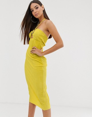 Asos Design DESIGN midi plisse sundress with buckle detail in yellow