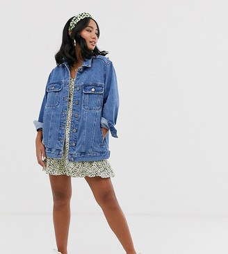 Asos DESIGN Petite denim girlfriend jacket in midwash blue
