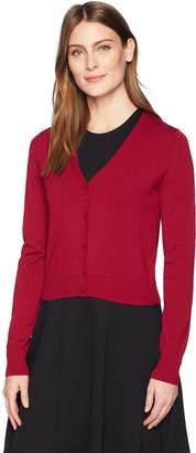 Lark & Ro Amazon Brand Women's Button Down V-Neck Cropped Cardigan Sweater
