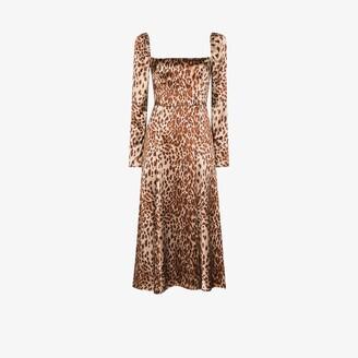 Reformation Maryanne leopard print silk midi dress