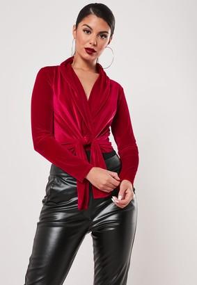Missguided Petite Red Velvet Twist Front Bodysuit