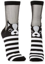 Charlotte Russe Striped Frenchie Crew Socks