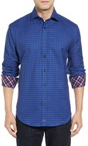 Thomas Dean Men's Regular Fit Jacquard Check Sport Shirt