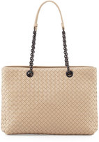 Bottega Veneta Intrecciato Medium Double-Chain Tote Bag, Beige