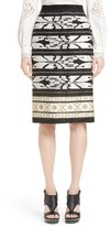 Oscar de la Renta Women's Ikat Embroidered Pencil Skirt
