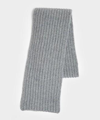 Corgi Wool/Cashmere Ribbed Scarf in Flannel Grey