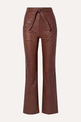 Sea Lidia Belted Leather Straight-leg Pants - Chocolate