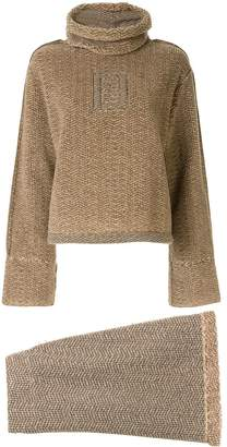 Fendi Pre-Owned knitted herringbone jumper skirt set