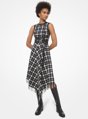 Michael Kors Collection Leather Trim Plaid Wool Dress