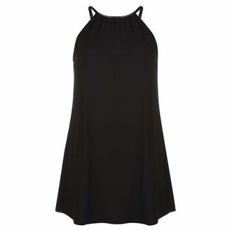 Full Circle Womens Halter Swim Dress Swimming Spaghetti Straps Black UK 12