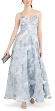 Brinker & Eliza Petite Metallic Floral Organza Gown