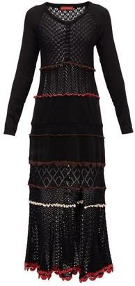Altuzarra Dogwood Front-slit Cotton-crochet Dress - Womens - Black