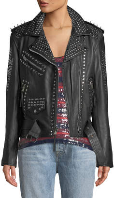 Lee Laurie Leathers You Don't Own Me Studded Leather Biker Jacket