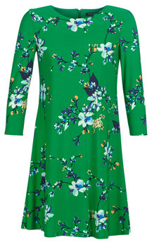 Lauren Ralph Lauren FLORAL PRINT-3/4 SLEEVE-JERSEY DAY DRESS women's Dress in Green