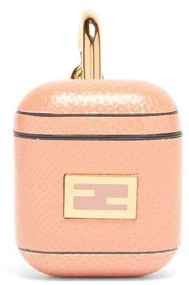 Fendi Ff-logo Snakeskin Airpods Case - Pink