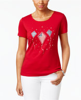 Karen Scott Glitter Kite Graphic Cotton Top, Only at Macy's