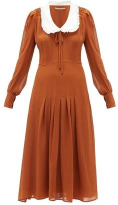 Alessandra Rich Contrast-collar Silk-georgette Dress - Womens - Brown White