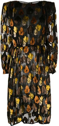 Valentino Pre Owned 1980's Floral Long-Sleeved Dress