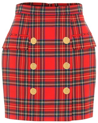 Balmain Checked high-rise wool miniskirt