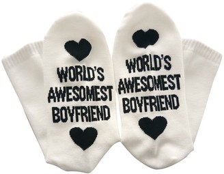 "Leedy Socks World's awesomest boyfriend"" Exquisite Unisex Letter Socks Wool Thermal Warm Knitting Ladies Socks for Winter By LEEDY"