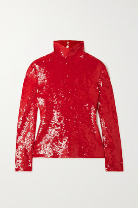 Valentino Sequined Cotton-blend Turtleneck Top - Red