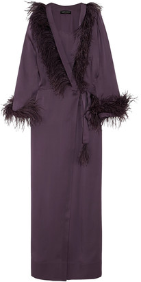Carine Gilson Feather-trimmed Silk-satin Robe