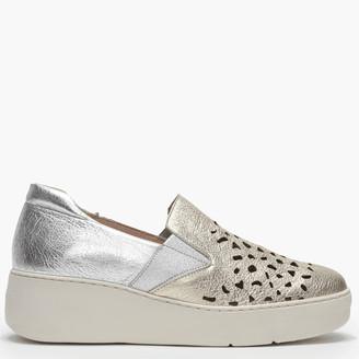 Wonders Baldwin Gold Leather Laser Cut Loafers