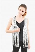 Select Fashion Fashion Womens White Aztec Crochet Tassel Waistcoat - size L