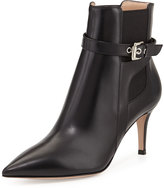 Gianvito Rossi Buckled Leather Point-Toe Bootie, Black