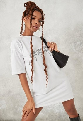 Missguided White Lightening Oversized T Shirt Dress