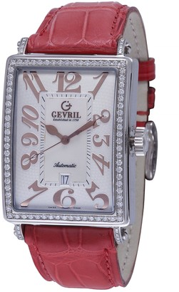 Gevril Women's Avenue of Americas Glamour Stainless Steel Swiss Automatic Watch with Leather Calfskin Strap