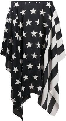 Tommy Hilfiger Flag Print Asymmetric Silk Blend
