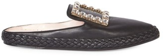 Roger Vivier Lounge Strass Leather Mules
