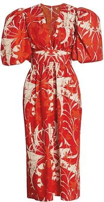 Johanna Ortiz Living Memories Puff-Sleeve Midi Dress