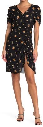 GOOD LUCK GEM Floral Ruched Short Sleeve Dress