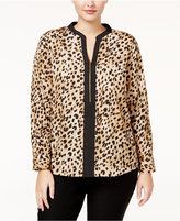Calvin Klein Plus Size Printed Zip-Front Blouse