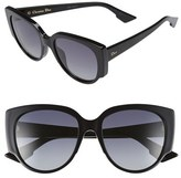 Christian Dior Women's 'Night' 55Mm Cat Eye Sunglasses - Black