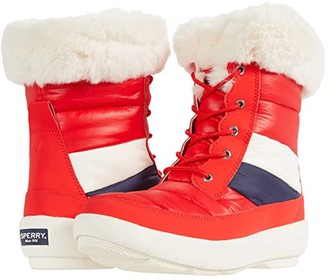 Sperry Bearing PlushWave Boots Nautical Stripe Nylon (Red) Women's Shoes