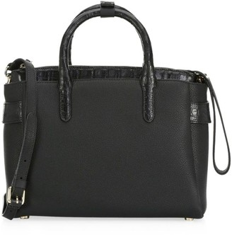 Nancy Gonzalez Small Cristie Crocodile-Trimmed Leather Satchel