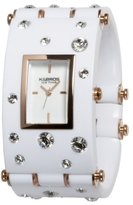 K & Bros Women's 9530-4 Ice-Time Galassia White Crystal Accented White Watch