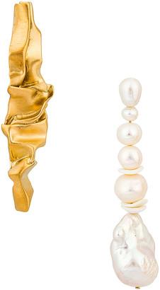 COMPLETEDWORKS Crumple Earrings in Gold & Pearl | FWRD