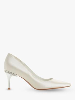 Dune Bells Jewel Heel Pointed Toe Court Shoes, Ivory