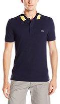 Lacoste Men's Short Sleeve Jacquard Color Block Collar Shirt