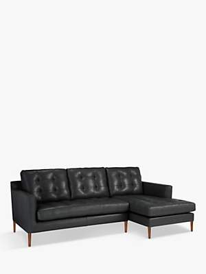 John Lewis & Partners Draper Leather RHF Chaise End Sofa, Dark Leg