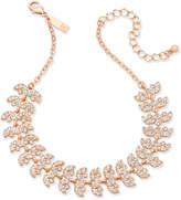 """INC International Concepts Rose Gold-Tone Crystal Leaf Choker Necklace, 11-3/4"""" + 3"""" extender, Created for Macy's"""