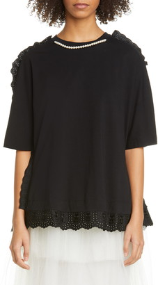 Simone Rocha Eyelet Trim Cotton T-Shirt