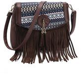 Angedanlia Women's Crossbodies DARK - Dark Brown Geometric-Accent Fringe Tassel Crossbody Bag