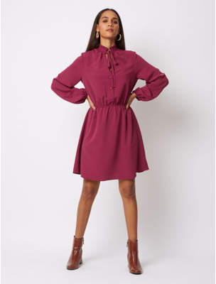 George Plum Tie Neck Tea Dress