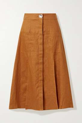 Nicholas Masala Linen Midi Skirt - Saffron